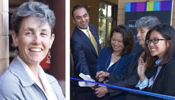 Sharon Salinger, dean of undergraduate education cutting the ribbon at the Antrepreneur Center's opening.